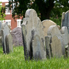 Picture - Old grave markers at Copp's Hill Burying Ground in Boston.