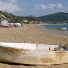 Picture - Boat on the beach near Arilas, Corfu.