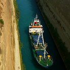 Picture - Ship in the Corinth Canal.