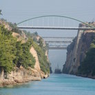 Picture - Ship in the Corinth Canal, seen from the water.