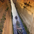 Picture - A ship in the Corinth Canal.