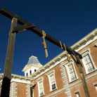 Picture - Gallows outside the courthouse at the Courthouse State Historic Park in Tombstone.
