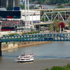 Picture - Colorful bridges spanning the Ohio River at Covington, Kentucky.