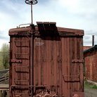 Picture - Boxcar parked at Cumbres and Toltec Scenic Railroad, Chama.