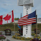 Picture - Monument that marks the end of the Alaska Highway at Delta Junction.