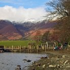 Picture - Lake shore at Derwent Water in the Lake District of Cumbria.