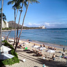 Picture - Beaches of Waikiki with Diamond Head volcano in the distance.