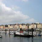 Picture - Boats in the harbor at Dieppe.