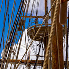 Picture - Crow's nest through the rigging of one of the ships at Jamestown, Virginia.