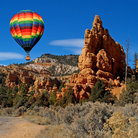 Picture - Hot air balloon over Red Canyon in Dixie National Forest, Utah.