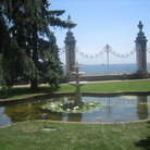 Picture - Pond with lilies in the Imperial Gardens of Dolmabahce Palace in Istanbul.