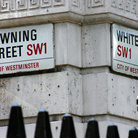 Picture - Corner of Downing Street and White Hall Street in London.