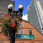 Picture - Flowers on Lamp Post in Downtown Boston, MA.