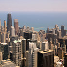 Picture - Northeast Chicago including First National Bank & Navy Pier from Sears Tower Skydeck.