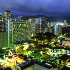 Picture - Night scene in downtown Honolulu.