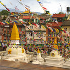 Picture - Stupas and flags in Kathmandu.