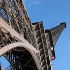 Picture - Detail of the Eiffel Tower seen from the ground.