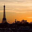 Picture - The Eiffel Tower at dusk in Paris.