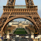 Picture - The Eiffel Tower frames Chaillot Palace in Paris.