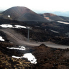 Picture - View of Mount Etna and the winding road.