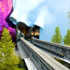 Picture - Tracks of the monorail running through the Experience Music Project in Seattle.
