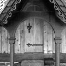 Picture - Detail of a door at Fantoft Stave Church in Bergen.