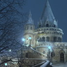 Picture - The Fishermen's Bastion at night in Budapest.