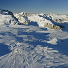 Picture - The snow covered ski hill of Flaine.