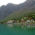 Picture - Houses along the fjord near Flam.