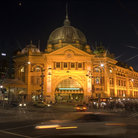 Picture - Flinders Street Station at night in Melbourne.