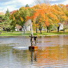 Picture - A fountain in a pond at the Forest Lawn Cemetery in Buffalo.