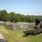 Picture - Cannon surrounded by stone wall at Fort Donelson National Battlefield, Tennessee.