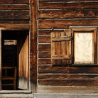 Picture - An old wooden building at Fort Edmonton Park outside of Edmonton.