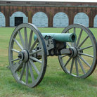 Picture - Civil war cannon in a field at Fort Pulaski, Savannah.