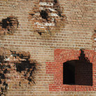 Picture - Damaged wall at Fort Pulaski National Monument.