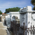 Picture - Family mausoleums in St. Louis Cemetery #1 in New Orleans.