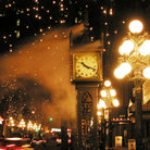 Picture - Snow at night in Gastown, Vancouver.