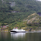 Picture - Ferry in the Geiranger Fjord.