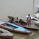 Picture - Boats on the Ganges.