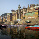 Picture - View of the Ghats from the water at Varanasi.