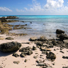 Picture - The rocky shoreline of Gibbs Cay.