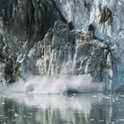 Picture - Glacier calving in the calm water of Glacier Bay National Park.