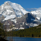Picture - Snow covered mountain at Glacier National Park.