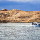 Picture - A boat on Lake Powll in the Glen Canyon National Recreation Area.