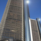Picture - Looking up at the Renaissance Center in Detroit.