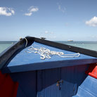 Picture - Bow of a water taxi at Grand Anse beach at St George's.