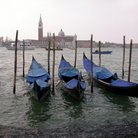 Picture - Gondolas on the Grand Canal in Venice.