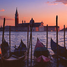 Picture - Gondolas on the Grand Canal in Venice at sunset.