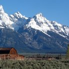 Picture - Barn and field below Grand Teton National Park.