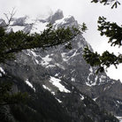 Picture - View of a mountain face from a hiking trail in Grand Teton National Park.